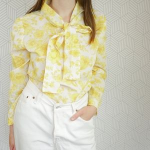 Vintage 60's Mod Yellow Floral Top